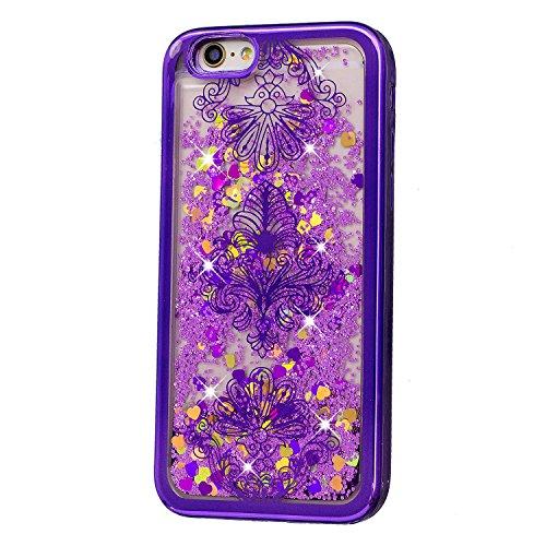 Pour iPhone 8 Plus Bling Coque,pour iPhone 7 Plus Glitter Case,Dual Layer Plastic TPU Coque Liquide Cases Cover,SKYXD 3D Unique Brillant Cristal Placage Quicksand Transparente Liquid Etui Housse pour  Purple Frame,Retro Floral