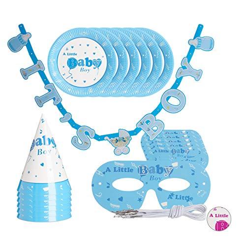 Relaxdays Babyparty Deko, Set 19-teilig, Partyset Pullerparty Junge mit Girlande, Teller, Brille & Partyhut, hellblau