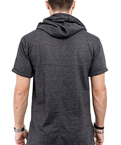 Phoenix Hooded T-Shirt Herren Longshirt mit Kapuze Charcoal