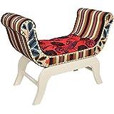 ts-ideen Taburete banqueta asiento sofá banco de corredor estilo de la alquería rustico rojo otomán
