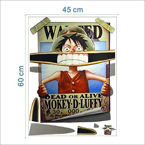 JUNMAONO One Piece Luffy Wandaufkleber/Abnehmbare Wandbild Aufkleber/Wandgemälde/Wand Poster/Wandbild Aufkleber/Wandbilder/Wandtattoo/Pinupbild/Beschriftung/Pad einfügen/Tapete/Tapezieren/Tapeten/Wand Zeitung/Wandmalerei Haftnotiz/Fühlen Sie sich frei zu kleben/Instant ()
