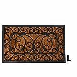 Esschert Design RB08 Kokos/Gummi L fuß-/Türmatte, schwarz/braun, 74.5 x 44.5 x 1.1 cm