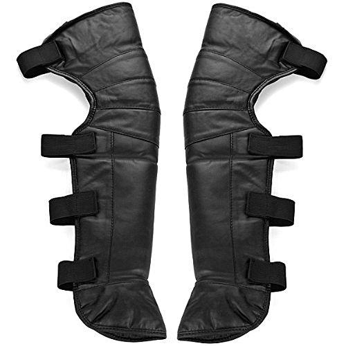 One Paar New 58,4cm schwarz Kunstleder winddicht Winter Outdoor Fuß Kniewärmer Gaiter Legging Leg Cover Minichaps Radfahren Reiten Snow Kufen