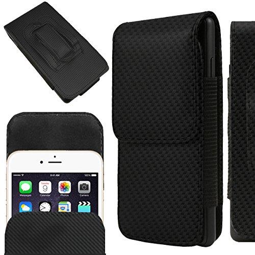 IWIO Samsung Galaxy K Zoom SM-C115 Kohlefaser Schwarz PU Leder Schutztasche Gürtel Magnetische Holster Schlag Fall Haut Abdeckung