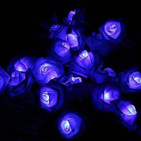 Stillshine - Lampes à cordes, 3M 30LED Batterie à fleurs en rose à la batterie Fairy Light pour fête de jardin de mariage Halloween Noël, bar, club, décoration intérieure - Minuterie par Festive Lights (Violet)