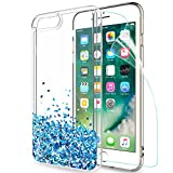 LeYi Coque pour iPhone 7 Plus/iPhone 8 Plus Glitter Cover Con HD Pellicola,Brillantini Trasparente Silicone Gel Liquido Sabbie Bumper TPU Case per Smartphone iPhone 7 Plus/iPhone 8 Plus ZX TS Bleu