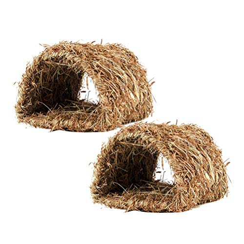 Balacoo 2pcs Woven Grass Hideaway Hut Naturrasen Pet Bed Tunnel Spielzeug Nest Käfig für Bunny Rabbit Hamster Gerbil Chinchillas (Hideaway Käfig Hamster)