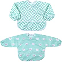 Babero Impremeable con mangas larga para bebé Manga Larga Resistente al agua Lavable Bebé Niños Alimentación