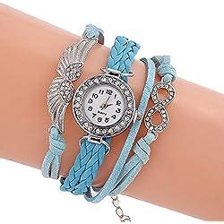 SSITG Women Angel Wings Rhinestone Leather Strap Watch Bangle/Watch Infinity
