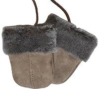 SamWo, Babyhandschuhe aus echtem Lammfell, kuschelig warmes Naturprodukt, für Kinder von 0 - 1 1/2 Jahren, Farbe: grau