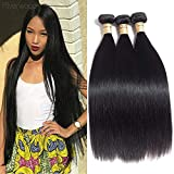 Malaysian Virgin Straight Hair 4 Bundles 100% Raw Unprocessed Human Hair Extensions Double Weft Silky Straight Weave Human Hair Bundles Natural Black (10 10 12)
