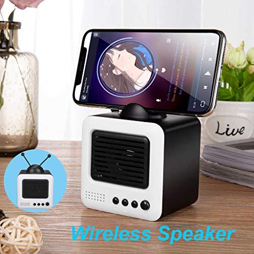 TV Modellierung Bluetooth Lautsprecher Speaker,Nourich für Samsung Computer Handyspieler Radio Fm Sprecher Speaker Indoor/Outdoor, Wireless, starker Akku (weiß)