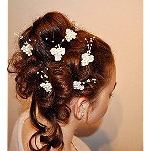 6 Haarnadeln Haarschmuck Braut Kommunion Blume Perlen weiß, ivory