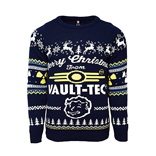 fallout kleidung Fallout 4 Offiziell Vault Tec Weihnachtsstrickjacke / Sweater, Blau - Dunkelblau, M
