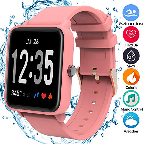 Fitness Trackers, Heart Rate Blood Pressure Oxygen Monitor IP67 Waterproof Big Color...