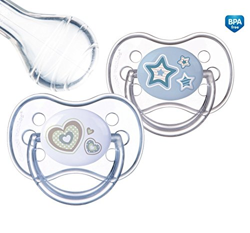 Canpol babies 2 Beruhigungssauger Silikon Kirschform Rund, Doppelpack (0 - 6 Monate)