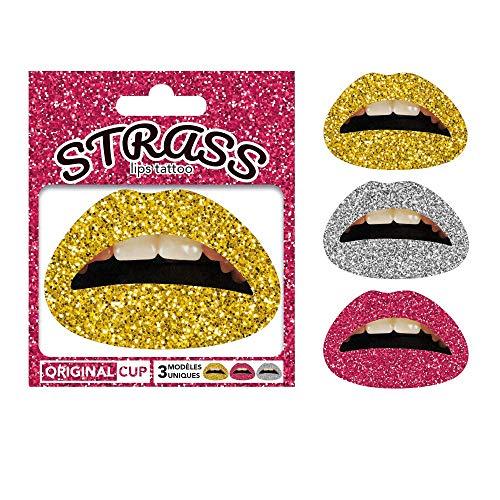Original Cup - Pailletten Lippen Tattoo - Ideal für Festivals und Partys -