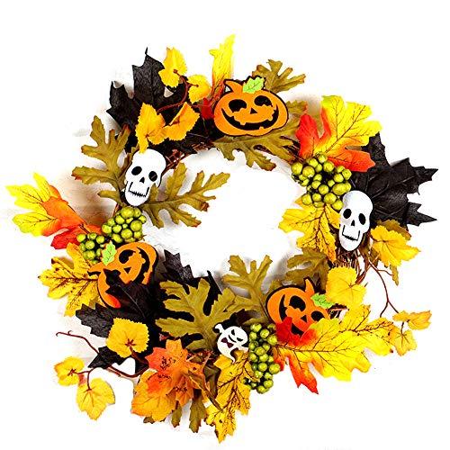 Ndier 1 STÜCKE Halloween Kranz Maple Leaf Kranz Herbst Kranz Kürbis Kranz mit Licht für Haustür Home Decor Ostern Dekoration (B Stil)