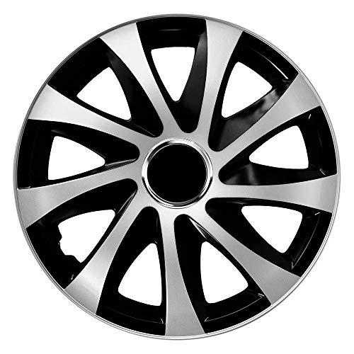 CM DESIGN Drift EXTRA Silber/Schwarz - 14 Zoll, passend für Fast alle Peugeot z.B. für 107
