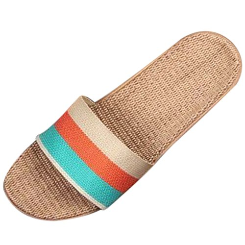 Azbro Chic Summer Striped Color Block Woven Slippers for Women Coral