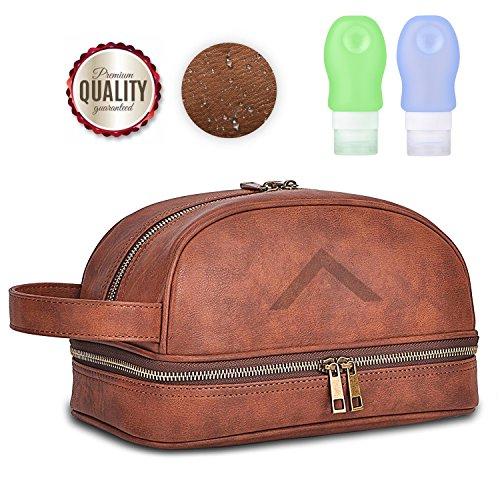Premium Kulturtasche zum Aufhängen inkl. 2 Reiseflaschen aus LEDER mit 24 Monate Garantie von VIDARE® - XXL Kulturbeutel   Kosmetiktasche für Weltreisende mit Haken und Tragegriff (Special Edition)