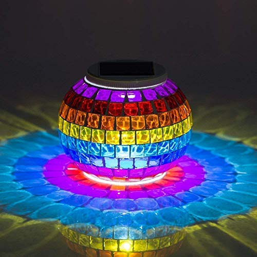 TodLight Solarbetriebene Mosaik Glaskugel Garten Lichter Bunte Ändern RGB Yard Balkon Lampen Wasserdichte Tischlampe Im Freien Solarlicht