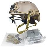 QHIU Casco tattico Camouflage PJ Multifunzionale Protezione Caschi per Softair Paintball Moto Caccia Sport all'Aria Aperta con Occhiali