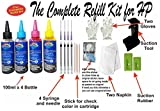 GoColor The Complete Refill kit for HP Inkjet & Deskjet Printer ( 100 ml X 4 Color Bottle & Complete Accessories )