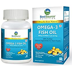 BestSource Nutrition Omega-3 Fish Oil, (EPA & DHA), Free from Heavy Metals, PCBs, & Dioxins, No fishy smell, No burping,60 softgels