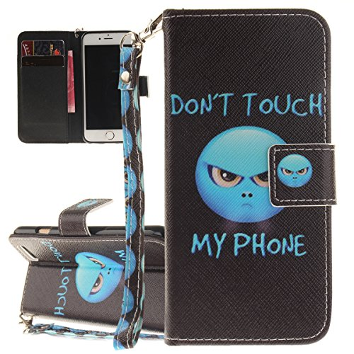 iPhone 6S Hülle, iPhone 6 Hülle, ISAKEN iPhone 6S 6 Hülle Muster, Handy Case Cover Tasche for iPhone 6S / 6, Bunte Retro Muster Druck Flip Cover PU Leder Tasche Case Schutzhülle Hülle Handy Tasche Etu Emoji Blau
