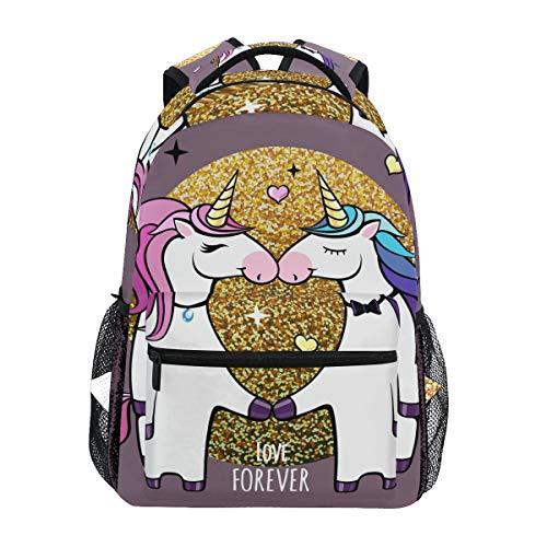 Zainetto romantico coppia di unicorni studenteschi zaino grande per ragazze bambini elementari zaino a spalla borsa Bookbag
