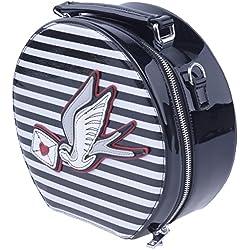 Hell Bunny SADIE Sailor Streifen Swallow Vintage Hutkoffer TASCHE - Bolso de asas para mujer Schwarz-Weiß gestreift mit Schwalbe Ancho 25 cm x Altura 23 cm (Sin) x profunidad 10 cm
