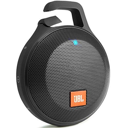 JBL Clip+ - Altavoz portátil para smartphones, tablets y MP3 (Bluetooth, recargable, robusto, resistente a salpicaduras, entrada AUX), color negro