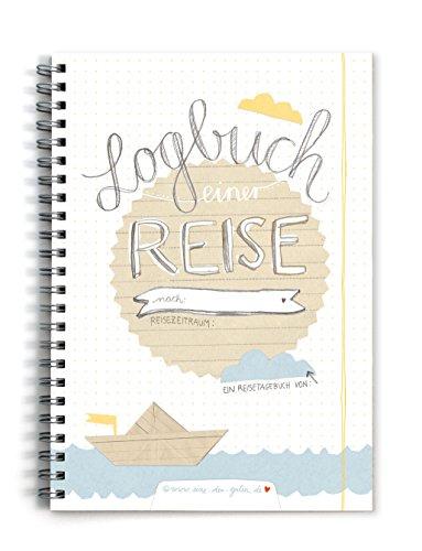 Reisetagebuch Logbuch einer Reise, A5 Tagebuch zum Selberschreiben mit Wetter, Stimmung und Zitatfeldern, Weiß Beige Blau, Vintage Design