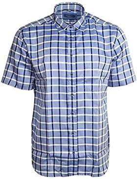 Eterna Herrenhemd Kurzarm Modern Fit Blau Weiß kariert Gr. L/42