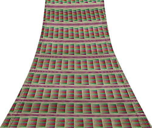 Svasti pannahazar Jamdani Vintage Sari Refurbished lila 100% reine Seide gedruckt Craft Stoff 5 Yard -