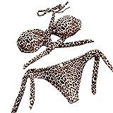 Jaminy Strandmode Bikini Set Frau Bikini Badeanzug Bikini Strandkleidung Bademode Badeanzug Bikini-Set Leopard Gedruckt Badeanzug (Braun, M)