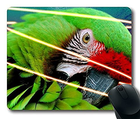 Mouse Pad - Durable Office Accessory Laptop Mouse pad and Pc Desktop mouse pad and Gifts For Gaming mouse pads Support Wired Wireless or Bluetooth Mouse and Gaming Mouse / Natural Eco Rubber Parrot With Ink Splats And Neon Glow Line Final Wallpaper