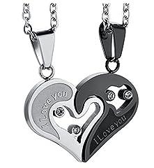 Idea Regalo - Urban Styles-Gioielli in acciaio Inossidabile, collana per innamorati - collana di coppia con ciondolo a forma di cuore e incisione