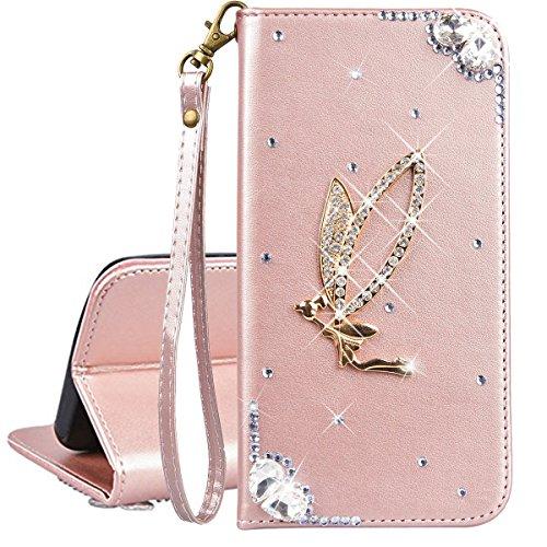 Bling Bling Strass Case (Xifanzi Brieftasche PU Ledertasche Hülle für Huawei P20 Lite Rose Gold Flip Case Strass Bling Entwurf Blumen Engel Bookstyle Lederhülle Mit Kartensteckplätzen Handytaschen für Huawei P20 Lite)