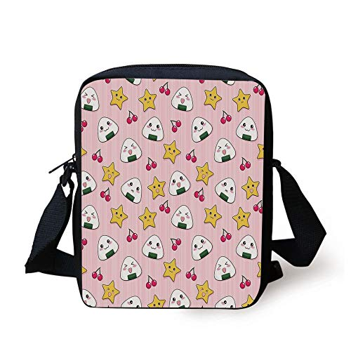 Anime,Happy Crying Cute Cartoon Rice Balls Cherries Stars Pattern on Stripes Art,Pink Yellow and White Print Kids Crossbody Messenger Bag Purse