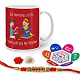 Indigifts Rakhi Gifts For Brother Bro Sis Sweet Moment Quote Printed Gift Set Of Mug 330 Ml, Crystal Rakhi For Brother, Roli, Chawal & Greeting Card - Rakshabandhan Gifts For Brother, Rakhi For Brother With Gifts, Raksha Bandhan Gifts, Brother Coffee