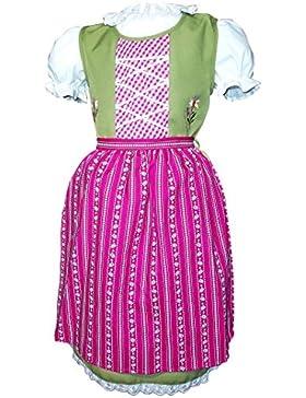 Kinderdirndl Grün mit Baumwollschürze Bluse und Schürze im Set Kindertrachten 100152