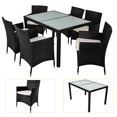 Polyrattan Essgruppe Rimini L für 6 Personen mit Glas Tischplatten