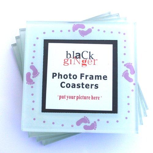 Set von 4personalisierbar Baby Mädchen Fußabdruck Glas Untersetzer mit Platz für Foto