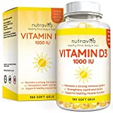 Vitamin D3 1,000 IU 365 Softgels 1 Year Supply | Vitamin D Soft Gel Supplement | Vitamin D Source Cholecalciferol by Nutravita