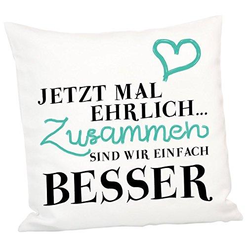 Geschenke 24: Kissen – Jetzt mal ehrlich – Romantisches Kuschelkissen Sofakissen Zierkissen originelles Liebesgeschenk mit Herz