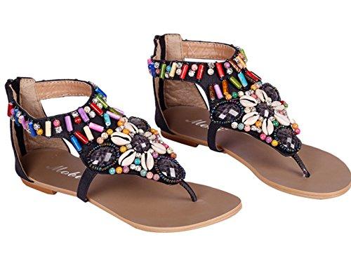Eozy-femmes Bohême Vintage Sandales Perles Strass Flip Flop Flat Strings Noir