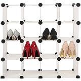 BUSYALL Estantería de Zapatos Libros Librería por Módulos Zapatero Modular para 16 Pares DIY Armarios Estantería Organizador Mueble para Ropa Libros Juguetes Zapatos etc para Dormitorio Baño Habitación Salón, 71 x 35 x 71cm (EU STOCK)