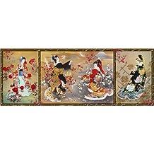 Cuadro sobre lienzo 80 x 30 cm: Oriental triptych de Haruyo Morita / MGL Licensing - cuadro terminado, cuadro sobre bastidor, lámina terminada sobre lienzo auténtico, impresión en lienzo